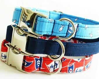 Nautical Dog Collar Preppy Boy Dog Collar Summer Ocean Dog Collar Beach Navy Dog Collar Sailor Anchor Dog Collar Cute Sea Dog Collar Boat