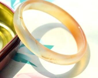 66mm Orange Red Agate Bangle ,Circle agate beads,large circle agate gemstone beads,charm clear agate , one charm bangle