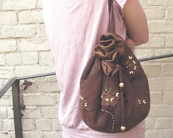 Handmade Suede Backpack Leather Bag Faux Suede Backpack Brown Suede Bag Butterfly Bag Summer Bag For Girl Small Backpack Unique Cute Handbag