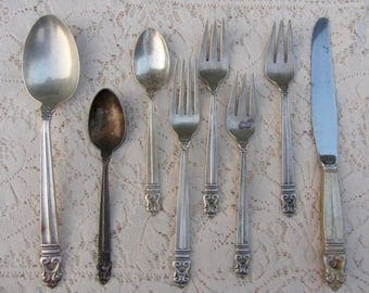 8 Royal Danish Sterling Silver Flatware International Salad Fork Knife No Mono