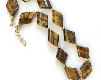 Faceted Twisted Tiger Eye Necklace