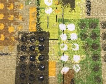 "Vintage Mid Century Modern Fabric Sample Green Gold Brown Atomic 16"" x 21"""