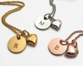Personalized Initial Necklace, Silver Gold Rose Gold Stainless Steel Personalized Necklace, Bridesmaid Gift, Personalized Heart Necklace