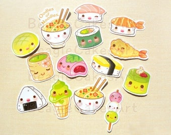 Japanese Food Stickers, Sushi Stickers, Noodle Stickers, Waterproof Sticker, Food Sticker, Planner Sticker, Laptop Sticker, Scrapbook Supply
