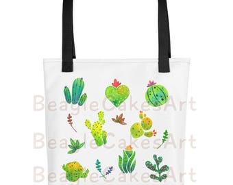 Cactus Tote Bag, Nature Inspired Tote, Beach Tote, School Tote, Gorcery Tote, Travel Tote, Kawaii Tote Bag, Reusable Bag, Flower Print Bag