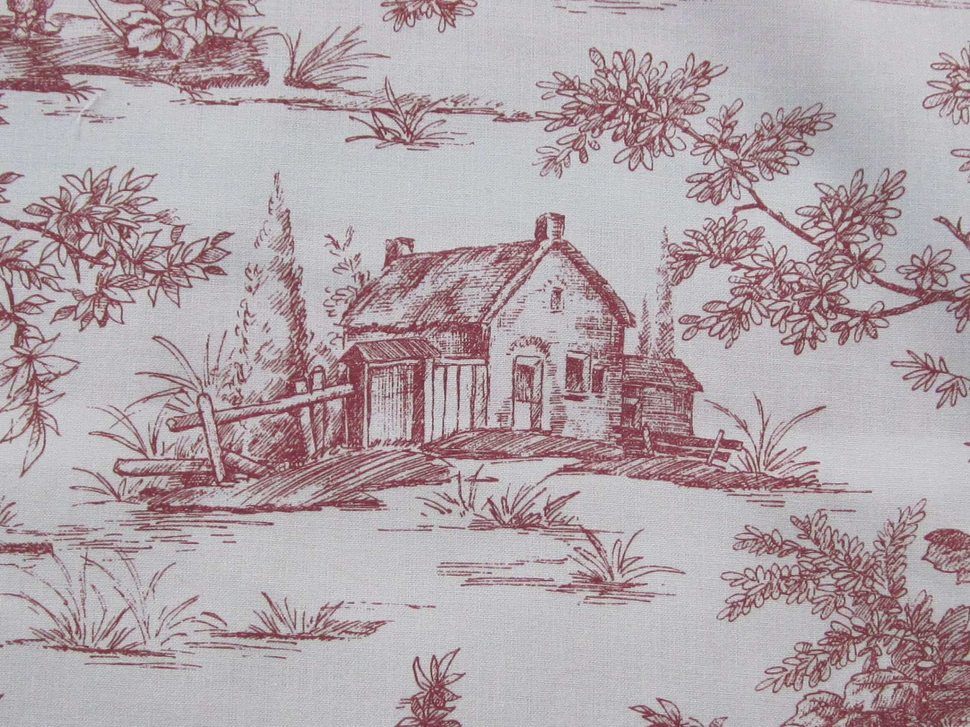 french toile de jouy red white cotton fabric sold by meter countryside home decor from. Black Bedroom Furniture Sets. Home Design Ideas