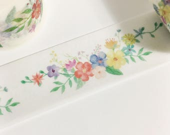 Gorgeous Watercolor Floral Colorful Flowers Pretty Swags Floral Swag Washi Tape 11 yards 10 meters 25mm