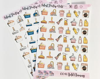 0039-41 Pretty Drawn Bright Colored Cleaning Sheet of Stickers Planner Stickers Erin Condren Life Planner Happy Planner Personal Planner