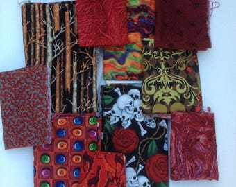 Fabric lot, OOP designs odd sizes Alexander Henry skulls and roses, lava, giraffes, red flannel, buttons, digital abstract print