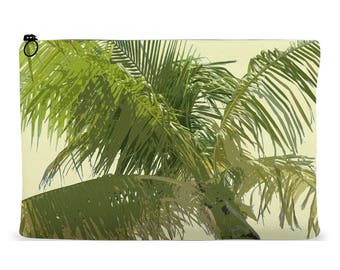 Accessory Pouch Palm Tree Design   Zippered Accessory Bag   Cosmetics Bag   Kindle Pouch   iPad Pouch   Organizer Bag