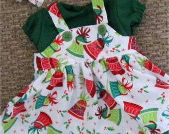 "Baby Doll Clothes Red Green & White Christmas Bells Print Jumper Blouse Headband  Fits Bitty Baby, Bitty Twins or Other 15"" Baby Doll"