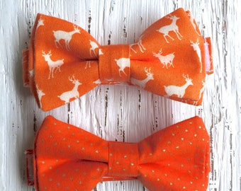 READY TO SHIP (size 3-6 yo), orange bow tie, orange and gold tie, deer bow tie, summer bowtie, ties for boys, summer photoshoot