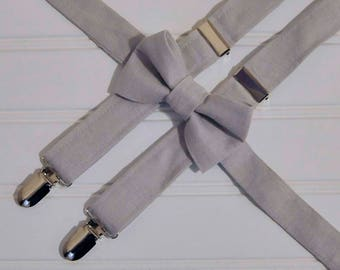 Boys gray linen bow tie and suspenders, Grey linen suspenders, many colors, Rustic Wedding ring bearer, Baptism