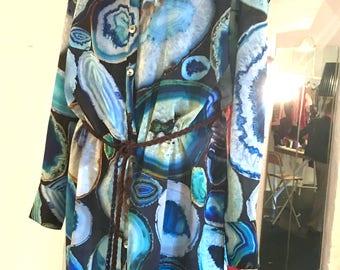charcoal blue geode print cotton silk shirt dress