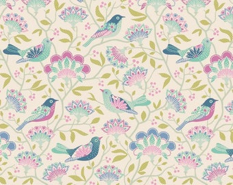 In the United States Preorder Tilda Harvest Bird Tree in Lilac 1/2 Yard
