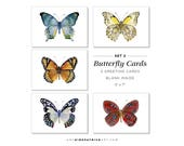 Greeting Card Pack of 5, Set 2, Five Different Butterflies, Watercolor Butterfly Cards, 5x7, blank inside, Gift for butterfly lover