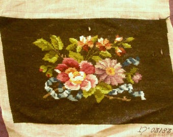 Vintage French Needlepoint with Flowers