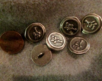 6 Pewter Buttons with Tree, Branch