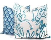 Lee Jofa Groundworks Hutch Pillow Cover, Aqua Bunny Pillow Cover Made to Order, Hunt Slonem, Aqua and white pillow, throw pillow toss pillow