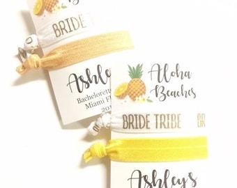 Aloha Beaches Bachelorette Party, Bachelorette Favor, Pineapple Bachelorette, Hair Ties, Hair Tie Bracelet, Pineapple Favor, Pineapple Party