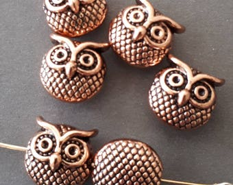 8pcs-Owl metal beads-silver tone beads, animal beads
