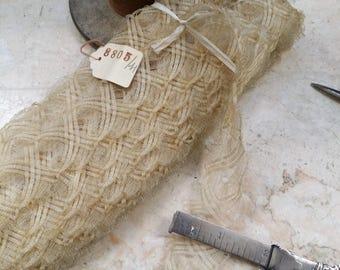 "HANK 1.25"" Vintage Ivory Vanilla Millinery Lace Horsehair, hat, trim, ribbon"