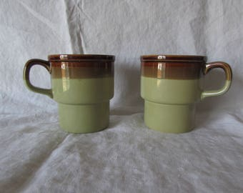 Stacking Coffee Mugs - Olive green and brown - Made in Japan - Gift for mom or dad - Vintage Olive green tea or coffee mugs
