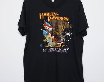 Harley Davidson Shirt Vintage tshirt 1986 Anything Else Is Un-American 1980s Daytona Beach Florida Bike Week Tee Only The Strong Survive