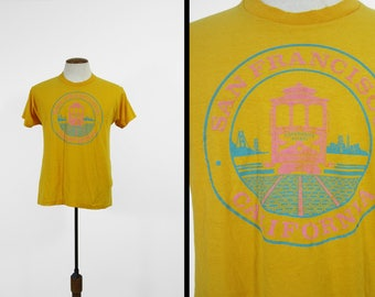 Vintage 70s San Francisco T-shirt Fisherman's Wharf Yellow Made in USA - Medium