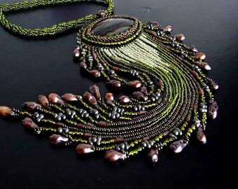 Agate Necklace, Unique Necklace, Beadwork Necklace, OOAK Bead Embroidered
