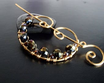 Shawl Pin, Scarf Pin, Sweater Brooch, Fibula, Hair Pin, Knitting Accessories, Gold Wire pin