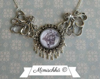 Necklace octopus pirate boat skull