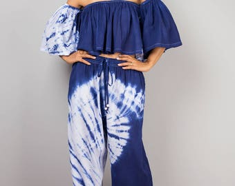 Open shoulder top and matching tie dye pants, off shoulder top, loose fit pants, summer outfit, crop top, beach wear, festival outfit