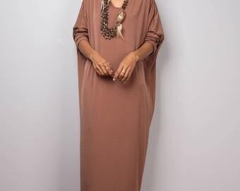 Brown Dress, brown mid length dress, lounge dress, oversized dress,  loose fitting brown dress, plus size dress : Street Chic no 3