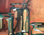 Green Glass, Glass Vases, Oil Painting, Original Art