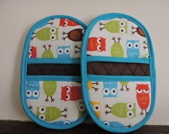 Mini Microwave Mitts-Oven Mitts-Pinchers-Multi-Color Owls w/Light Blue Trim-Free Shipping