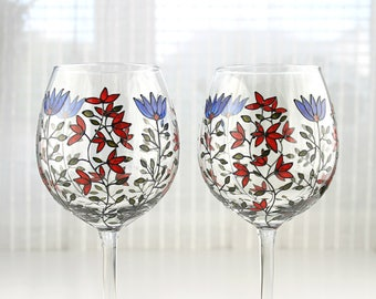 Wine Glasses, Blue & Red Flowers, Hand painted Wine Glasses, Floral Wedding Glasses, Toasting Glasses, Set of 2, Balloon Wine Glasses