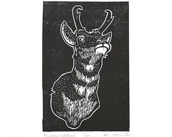 "Pronghorn Antelope (Black) - Linocut Print - 4x6"" - Limited Edition"