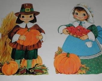 2 Vintage Cardboard  Die Cuts Pilgrim Boy with Pumpkins  and Pilgrim Girl Thanksgiving Fall Die Cut