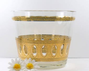 Culver Glass Signed Antigua Ice Bucket 22-Karat Gold Mid-Century 1950s Vintage Barware