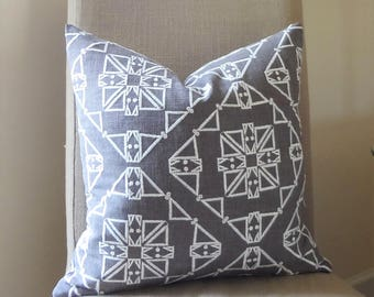 Charcoal and White Textured Embroidered African Boho Aztec Geometric Printed Pillow Cover Throw Pillow Cover by HomeLiving Size 18x18