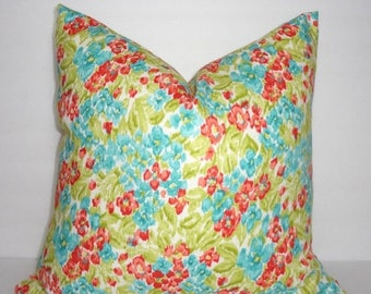 FALL is COMING SALE Dena Design Floral Facade Flower Print Pillow Cover Blue Green Coral Decorative Throw Pillow Covers 18x18