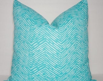 FALL is COMING SALE Outdoor Decorative Pillow Zebra Print Ocean Blue/White Beach Deck Pool Pillows All Sizes
