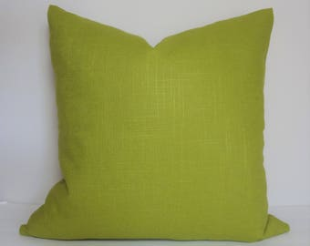 Solid Green Chartreuse Linen Pillow Cover Decorative Home Decor Size 18x18