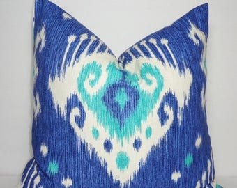 SPRING FORWARD SALE Decorative Blue Ikat Pillow Cover Blue & White Ikat Print Pillow Cover Size 18x18