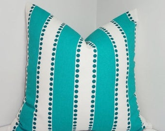 SPRING FORWARD SALE One Turquoise & White Stripe Dot Pillow Cover Decorative Throw Pillow Cover Choose Size