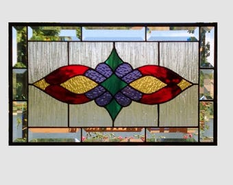 Victorian beveled stained glass panel window Red amber purple teal stained glass window panel window hanging  0255 19 1/2 x 11 1/2