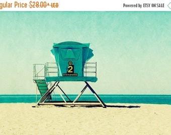 beach print, beach art, lifeguard stand, beach, santa cruz art, california, vintage style, vacation, ocean - Seabright, art print