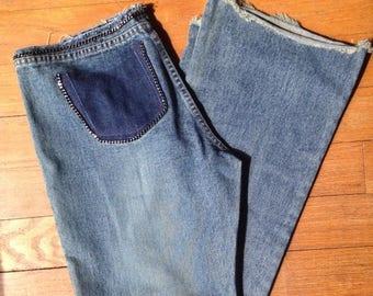 HUGE SALE Vintage 90s embellished hip hugger flare keans