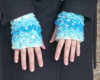 Blue Mermaid Scale--Dragon Scale Fingerless Gloves